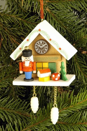 Tree ornaments Tree ornament Cuckoo Clock brown with Nutcracker – 6,7 x 6,3cm / 2.6 x 2.5inch – Christian Ulbricht