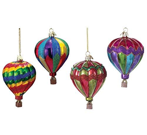 Kurt Adler Noble Gems Glass Hot Air Balloon Christmas Ornaments, Set of 4