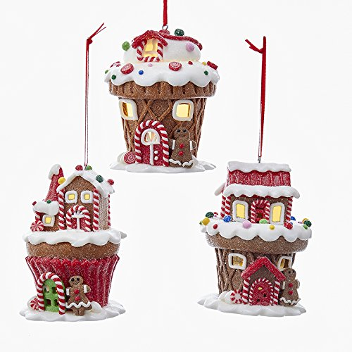 Kurt Adler BATTERY OPERATED LED GINGERBREAD HOUSE ORNAMENT WITH 38MM WARM WHITE LED LIGHTS – 3 ASSORTED