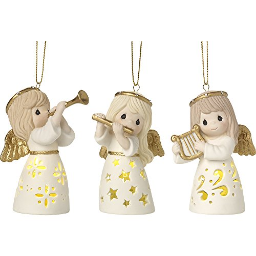 Precious Moments Angelic Trio Set of Three LED Lighted Angels Bisque Porcelain Ornaments 171037