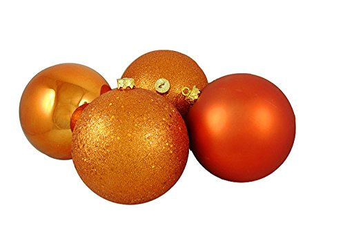 Vickerman 4ct Burnt Orange Shatterproof 4-Finish Christmas Ball Ornaments 6″ (150mm)