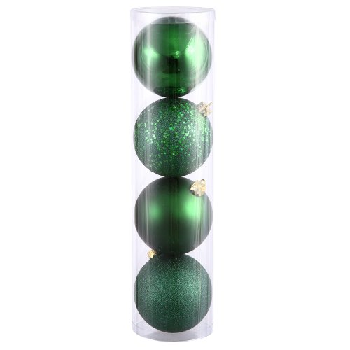 Vickerman 4-Finish Assorted Plastic Ornament Set & Seamless Shatterproof Christmas Ball Ornaments with Drilled Cap, Assorted 4 per Bag, 6″, Emerald