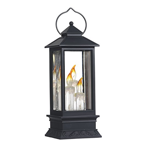 Lighted Snow Globe Lantern: 11 Inch, Black Holiday Water Lantern by RAZ Imports (Candles)