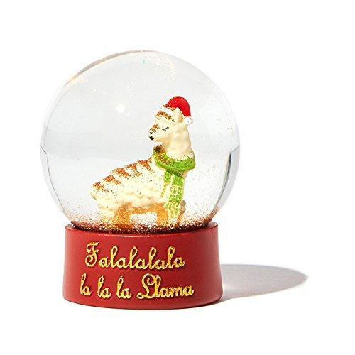 Christmas Llama Snow Globe Glass Dome Waterball – Falalalala Llama Snowglobe – 4″