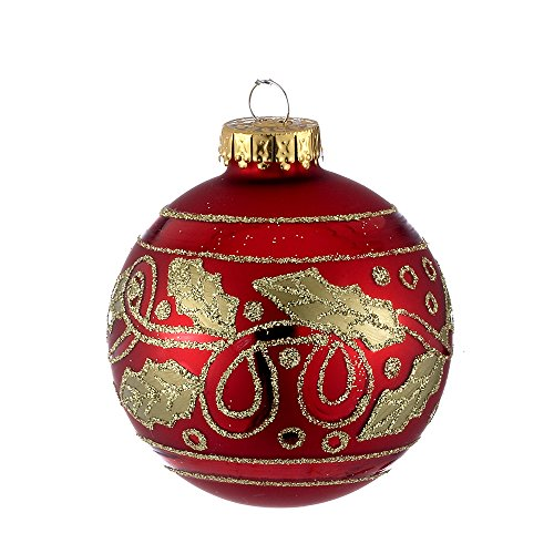 Kurt Adler 65mm Red and Gold Holly Design Glass Ball Ornaments, 4-Piece Box Set