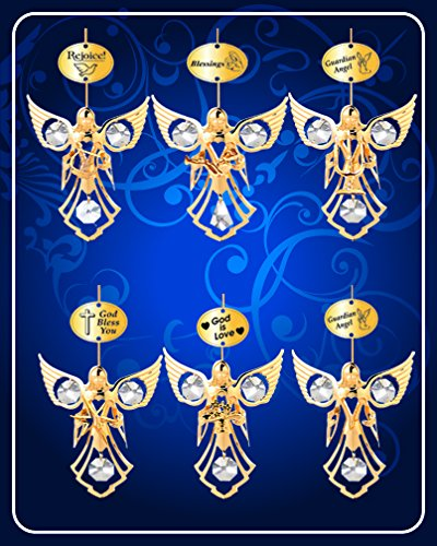 Set of 6 Ornaments – 24k Gold Plated Angel W/clear Swarovski Austrian Crystal