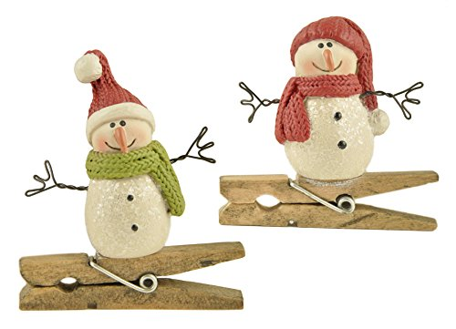 Sparkle Snowman on Clothes Pin Clips Resin Stone Christmas Figurine Ornament Set of 2