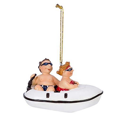 Beachcombers Couple in Speed Boat Ornament