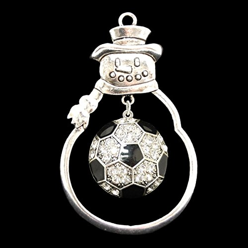 SOCCER Ornament is Embellished with Clear Crystal Rhinestones. Jeweled Soccer Ball Dangles Inside Silver Metal Snowman Bulb. Show Pride in the Game You Love!
