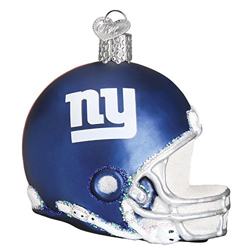 Old World Christmas Glass Blown Ornament with S-Hook, NFL Football Collection (Helmet, New York Giants)