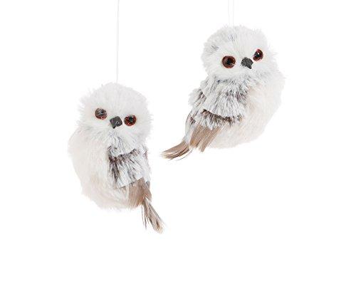Set of 2 Assorted Raz 3.5″ Furry Grey & White Owl Ornaments
