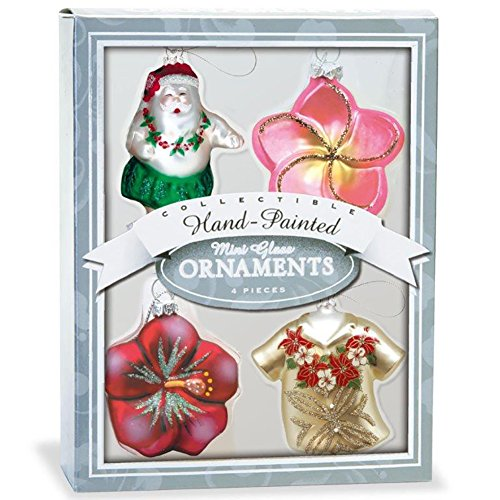 Mini Glass Ornament set 4 Pack Coastal Holiday