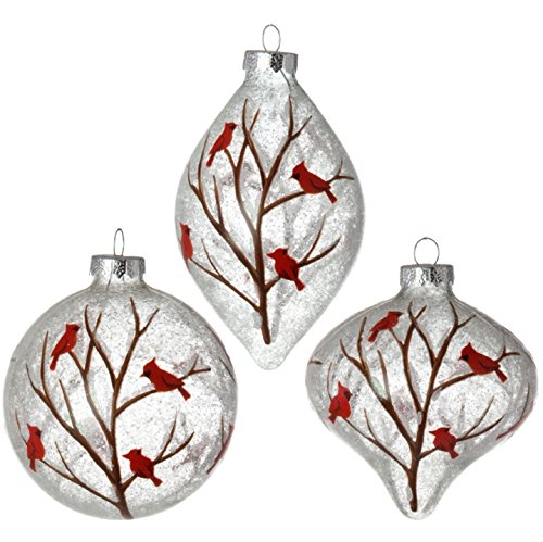 RAZ Imports – 4″ Cardinals on a Branch Christmas Tree Ornaments – Ball, Kismet and Finial – Set of 3