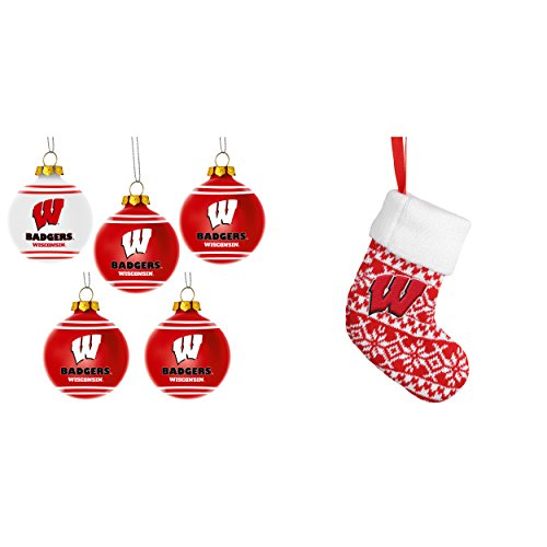 NCAA Wisconsin Badgers Plastic Christmas Ball Ornament 5 Pack ORNAMENT STOCKING KNIT Bundle 2 Pack By Forever Collectibles