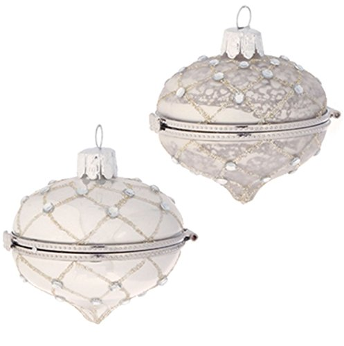 PAIR! Christmas Bejeweled Kismet Keepsake Hinged Box OrnamentS 2.8″ Diameter
