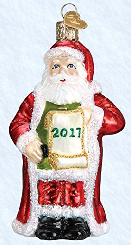 Old World Christmas 2017 Santa with List Glass Blown Ornament