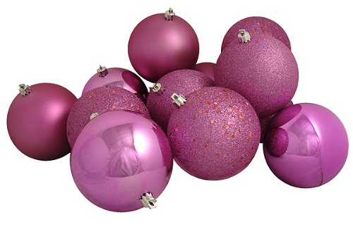 Vickerman 12 Count Bubblegum Pink Shatterproof 4-Finish Christmas Ball Ornaments, 4″