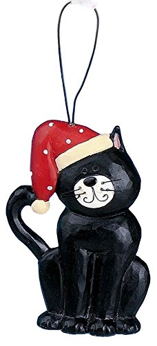 Blossom Bucket Christmas Black & White Tuxedo Cat in SANTA Hat Resin Ornament #1