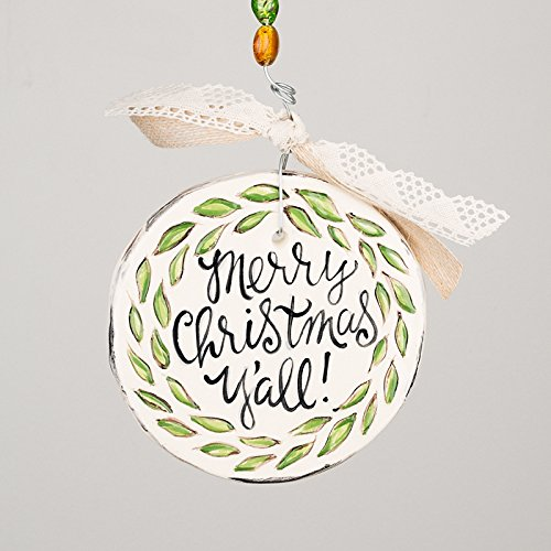 Merry Christmas Ornament – Flat 4.5″ Round Ceramic, Glory Haus (Merry Christmas Y'all)
