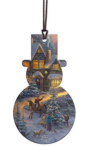 Thomas Kinkade Spirit Of Christmas Snowman Shaped Hanging Acrylic Decoration Ornament