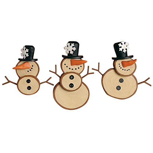 Set of 3 Round Snowmen with Top Hats Hanging Christmas Ornaments, 3 Inch