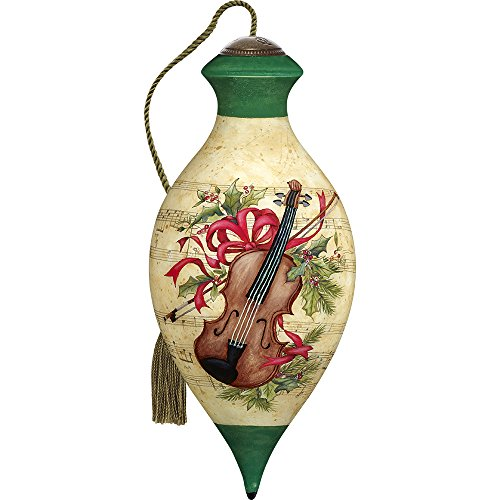 Precious Moments, Ne'Qwa Art 7171150 Hand Painted Blown Glass Standard Brilliant Shaped Christmas Violin Ornament, 6.5-inches
