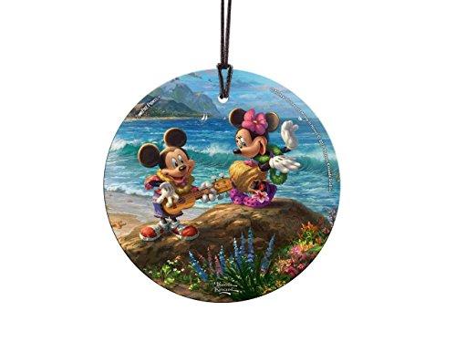 Thomas Kinkade Disney Mickey Minnie Hawaii StarFire Prints Glass Ornament – Home and Christmas Tree Decoration