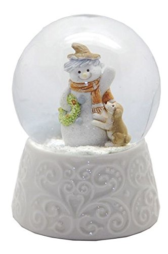 20085 Snow Globe Winter Snowman white porcelain base 3.3 Inch.