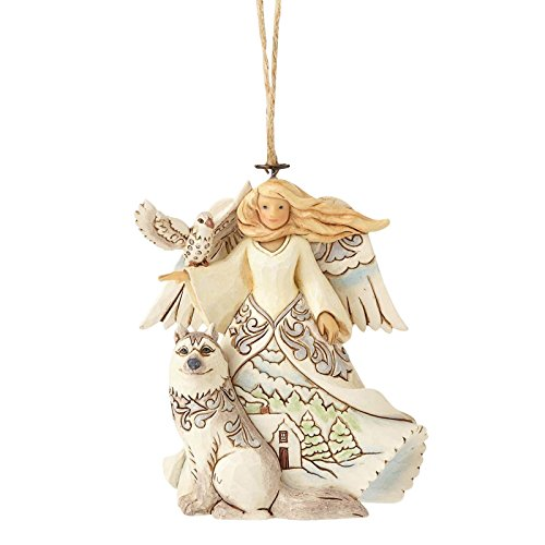 Jim Shore Heartwood Creek by Enesco White Woodland Angel w/Husky Ornament