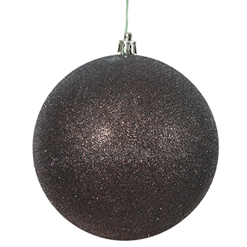 Vickerman N592015DG Glitter Ball Ornament with Shatterproof & UV Resistant, Pre-drilled cap Secured & 6″ of Green Floral Wire, 8″, Chocolate