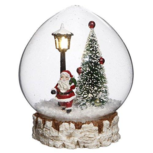 Christmas Tree & Santa Lighted Glass Snow Globe