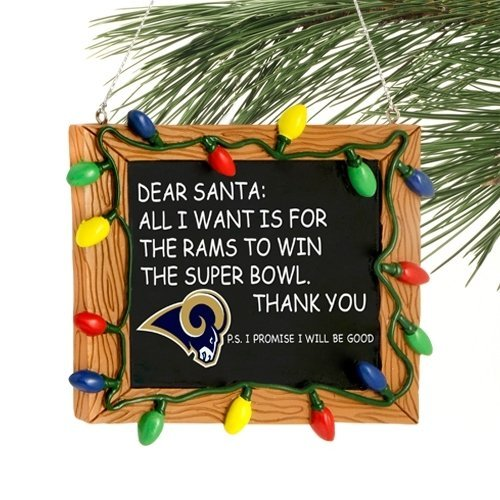 NFL Football Resin Chalkboard Sign Holiday Christmas Ornament – Pick Team (St Louis Rams)