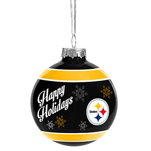 Forever Collectibles 2016 Christmas Holiday Glass Ball Ornament – Pittsburgh Steelers