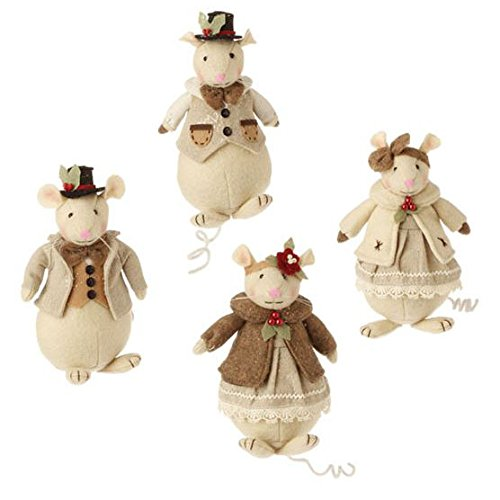 RAZ 6″ Mouse Christmas Ornament Set of 4