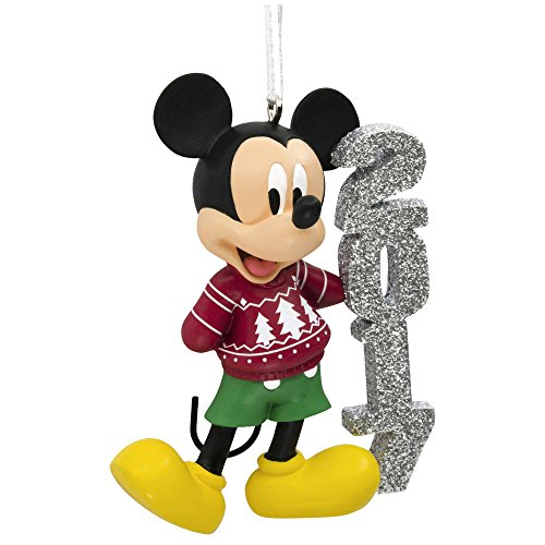Disney Mickey Mouse 2017 Dated Christmas Tree Ornament Red Holiday Sweater