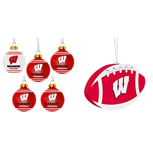 NCAA Wisconsin Badgers Plastic Christmas Ball Ornament 5 Pack Foam Bundle 2 Pack By Forever Collectibles