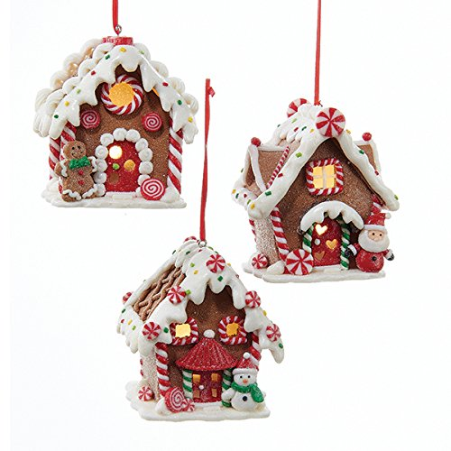 Kurt Adler 1 Set 3 Assorted Battery Operated Gingerbread LED House Clay Dough Christmas Ornaments