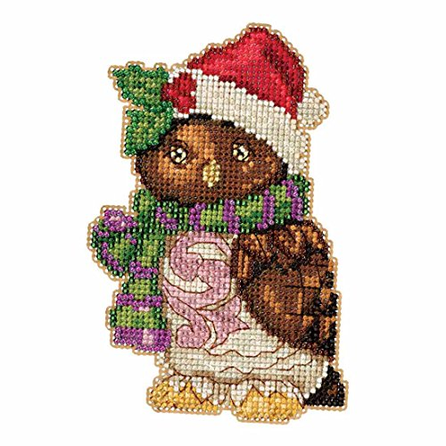 Owl Beaded Counted Christmas Holiday Cross Stitch Kit Mill Hill 2016 Jim Shore Winter Series JS201616