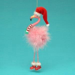 Kurt Adler Full Round Resin Flamingo With Dangle Legs Ornament