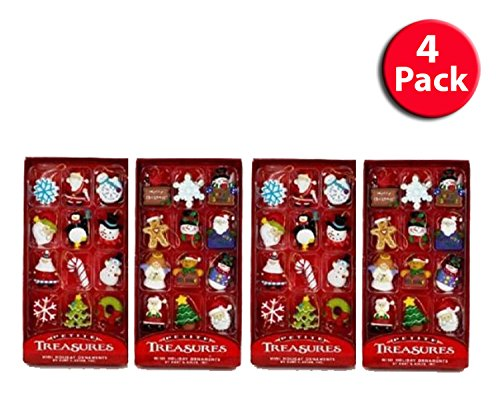 Kurt Adler Petite Treasures 12-Piece Miniature Ornaments Set, (4 Pack)