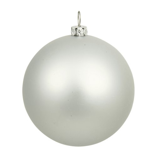 Vickerman Matte Silver UV Resistant Commercial Drilled Shatterproof Christmas Ball Ornament, 10″
