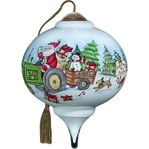 Precious Moments, Ne'Qwa Art 7171145 Hand Painted Blown Glass Petite Marquis Shaped Santa's Tree Farm Ornament, 3-inches