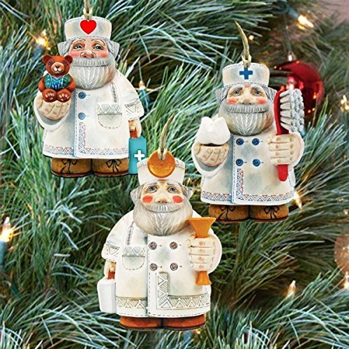 G.DeBrekht APPRECIATION SANTA CHRISTMAS KEEPSAKE WOODEN ORNAMENTS SET OF 3 #8100013S33