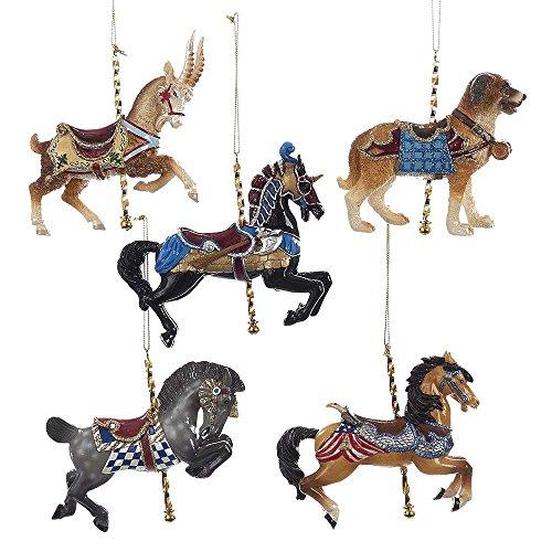 Kurt Adler YAMC6737 4″ Carousel Ornament (Set of 5)