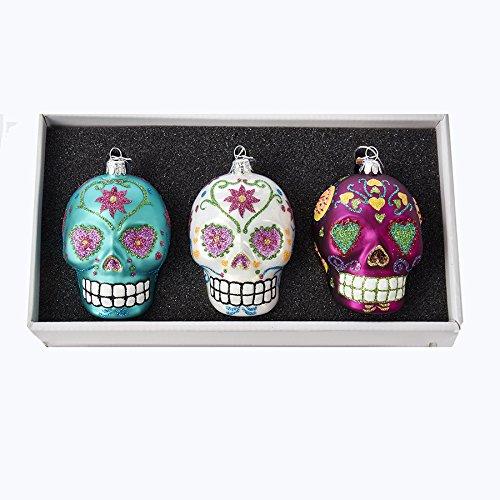 Kurt Adler NB1130 Noble Gems Glass Skull Ornament Set of 3