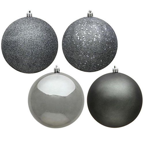 Vickerman 483855 – 4″ Pewter Ball 4 Assorted Finishes Christmas Tree Ornament (Set of 12) (N591087A)