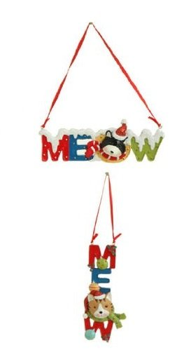 "RAZ Imports – 5.5″ Cats & ""MEOW"" Christmas Decoration Ornaments – Set of 2 (MEOW)"