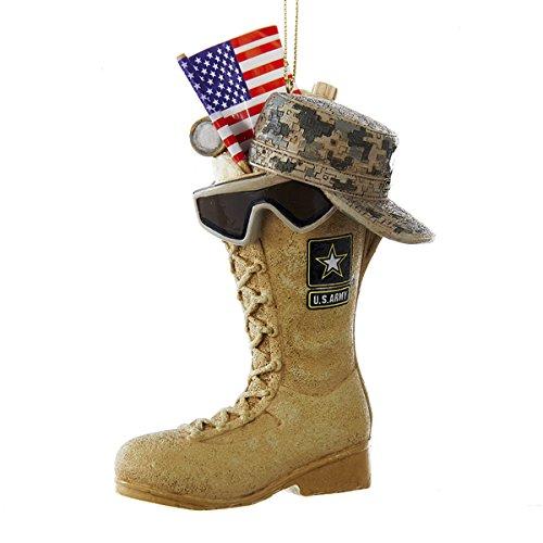 Kurt Adler U.S. Army Boot with U.S.A Flag and Icons Christmas Ornament