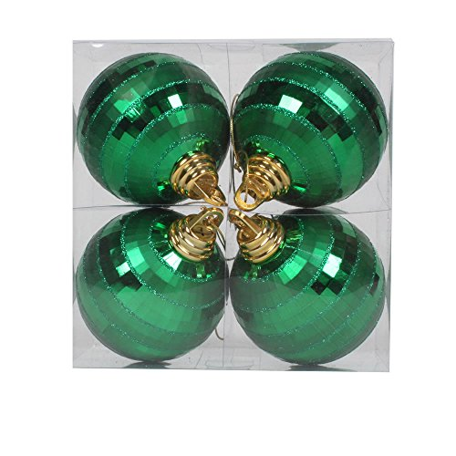 Vickerman Shiny-Matte Finish with Glitter Accents Christmas Mirror Ball Ornaments, 4 per Box, 4″, Green