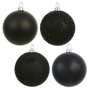 Vickerman 3″ Black 4 Finish Ball Ornament 16 per Box